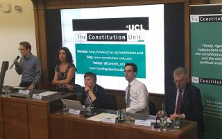 Photo of Meg Russell and panel at a Constitution Unit event