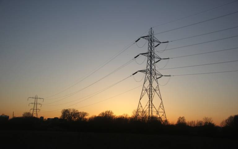 photo of pylons at Hackney marshes