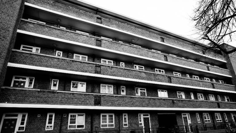 Black and white photo of a housing estate