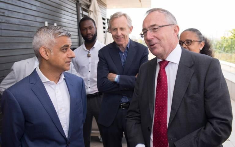 photo of Sadiq Khan, London Mayor and Professor Michael Arthur UCLs Provost
