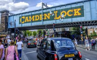 photo of the railway bridge at Camden Lock