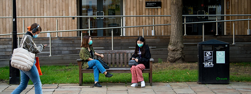 Students wearing masks on campus