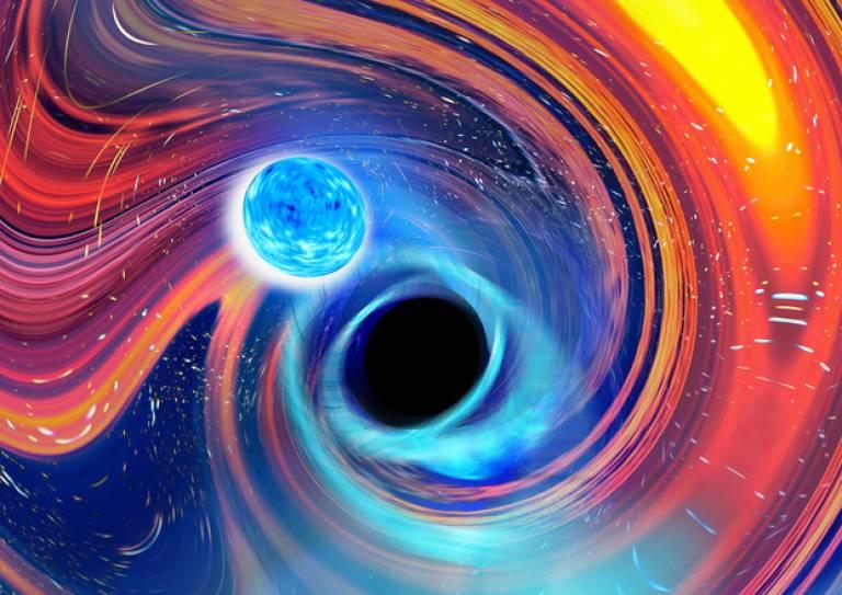 Artwork of a neutron star–black hole merger. Credit: Carl Knox, OzGrav-Swinburne University.