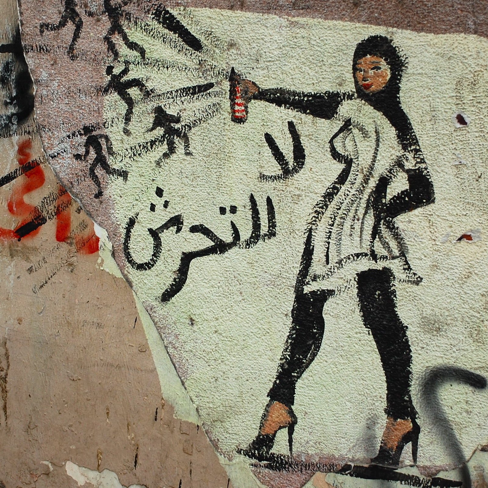 Colour photo of graffiti showing a woman spraying away small stickmen with a spraycan