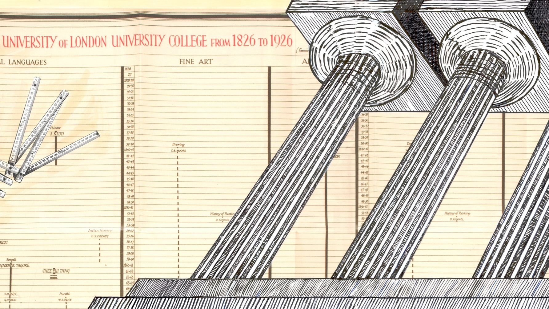 Collage of paint and ink showing UCL growth chart overlaid with columns of the university building