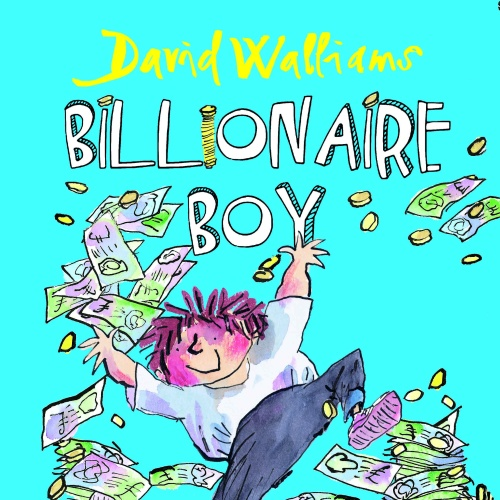 A cartoon boy jumping on top of a pile of money