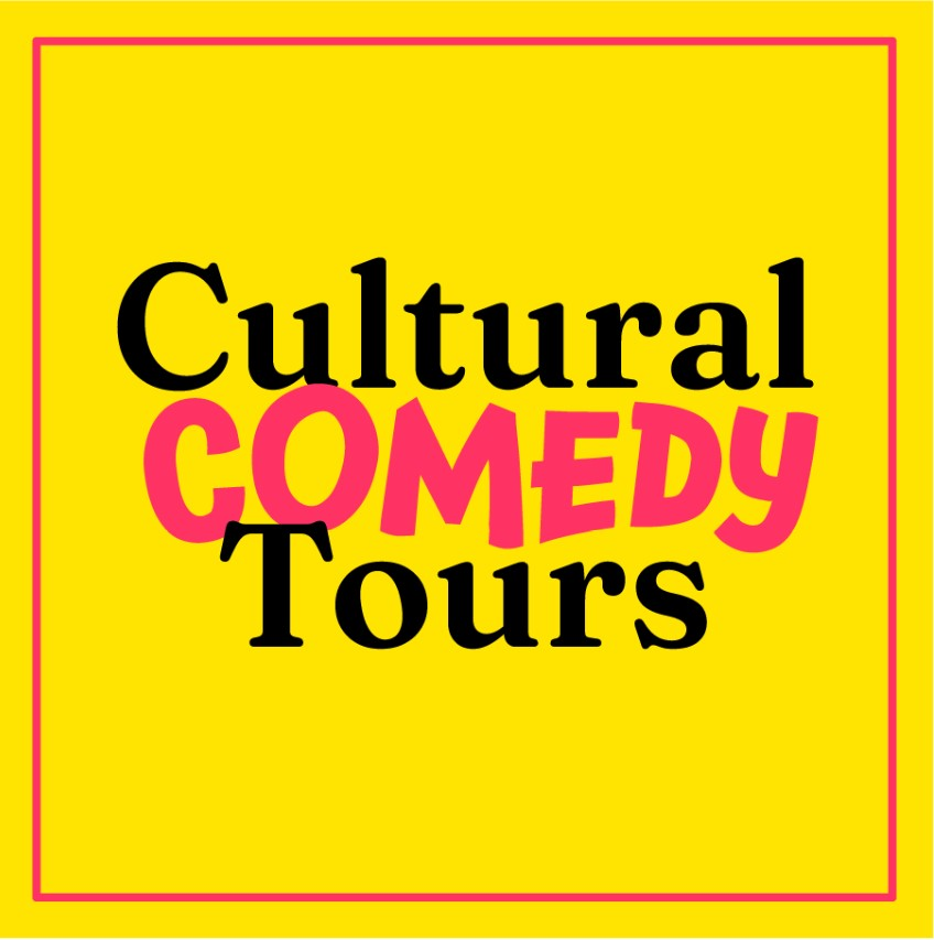 Cultural Comedy Tours written in black and red on a yellow background