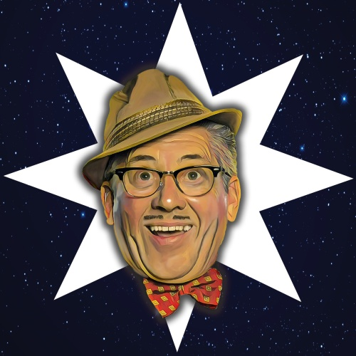 A blue background with stars. Count Arthur Strong appears in a large white star in the centre.