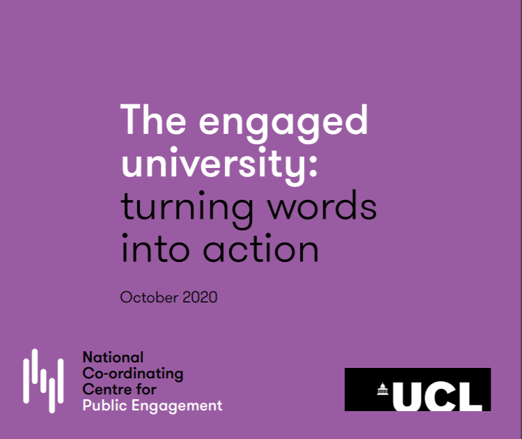 engaged university report covoer image. Words on purple background with UCL and NCCPE logos.