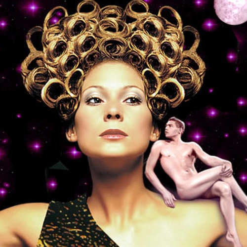 A woman in front of a starry background with a small naked man sitting on her shoulder