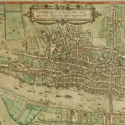 Colour photo of an old map showing a city