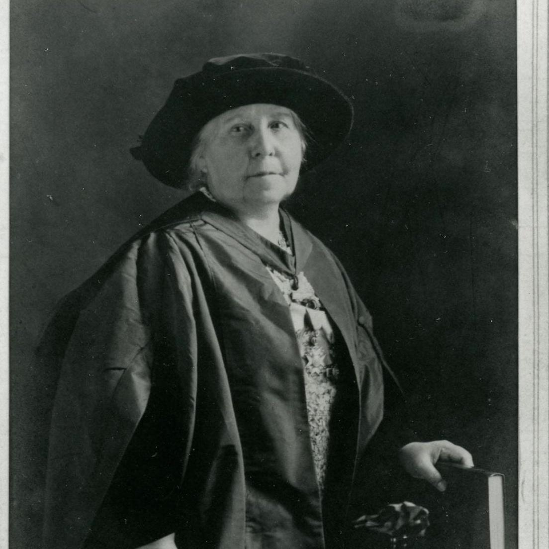 Portrait of Margaret Murrayin academic robes