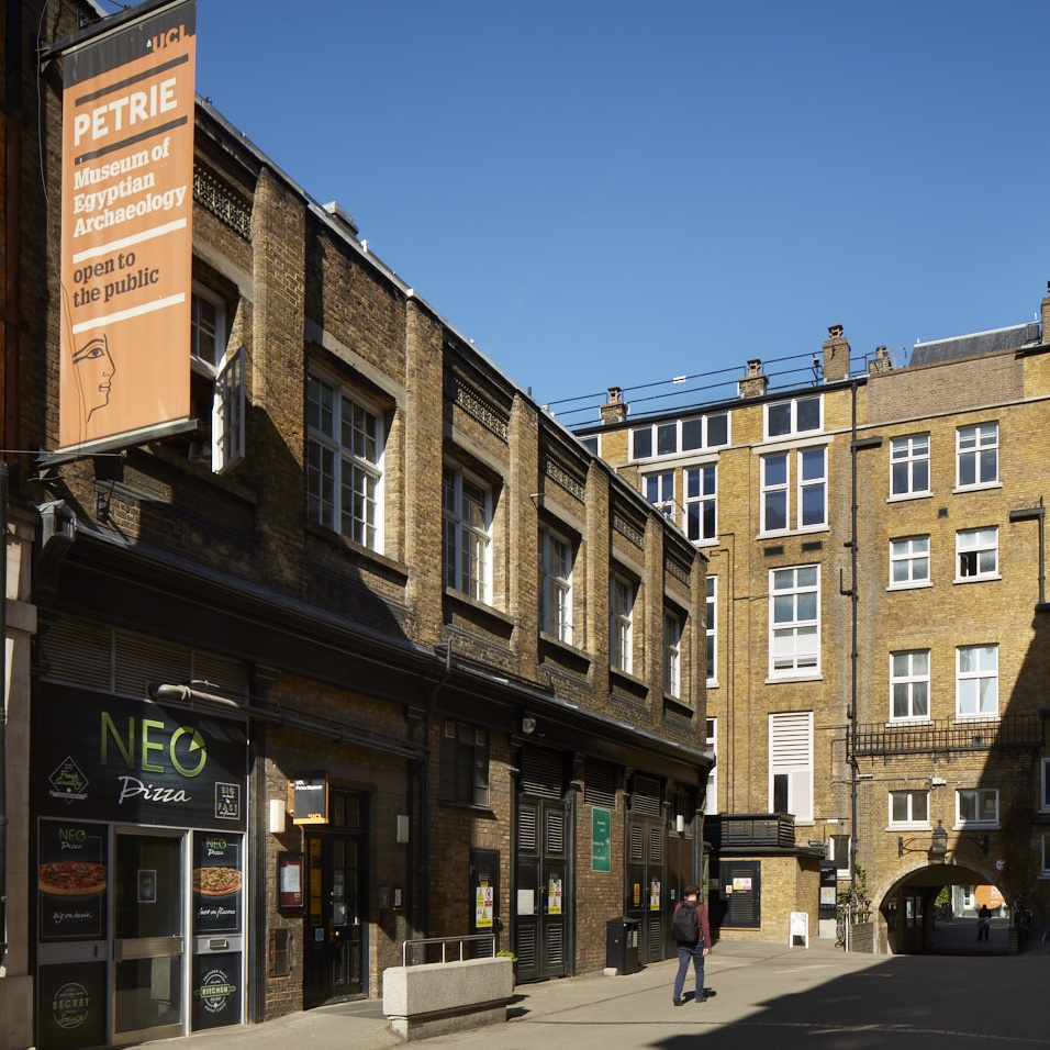 External view of the Petrie Museum from Malet Place showing front entrance and welcome banner