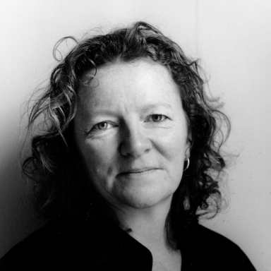 Black and white photo of artist Rachel Whiteread