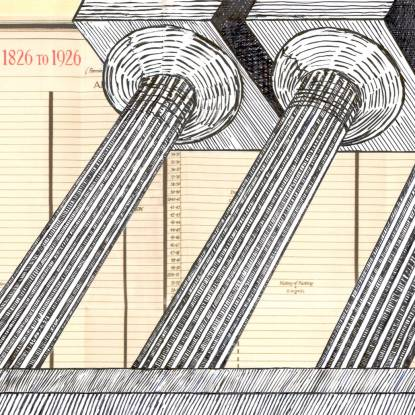 Collage of a drawing showing UCL growth chart overlaid with columns of the university building