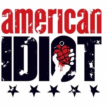 American Idit logo. The words American Idiot in black and red text on a white background.