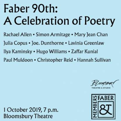"""A blue square with the text """"Faber at 90: A Celebration of Poetry"""""""