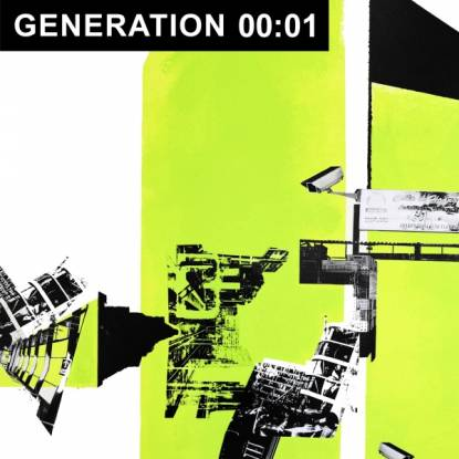 An abstract collect featuring bright neon green blocks and urban infrastructure