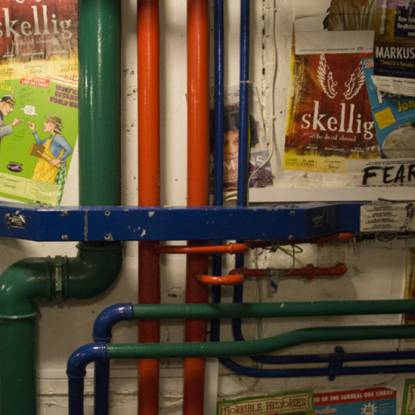 picture of pipes in the Bloomsbury Theatre Green Room