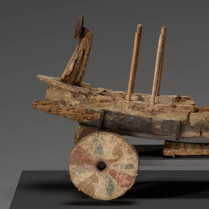 Cropped colour photo of the Gurob Ship Cart Model