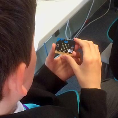 Child in technology workshop