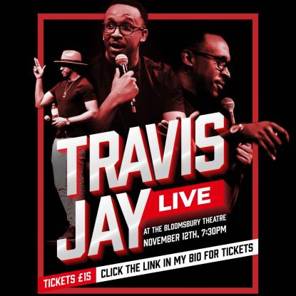 Travis Jay artwork on a black background with the words 'Travis Jay live' in red text