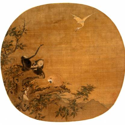 Image of three gibbons catching egrets in Ink and color on silk fan, by Yi Yuanji, Northern Song Dynasty painter