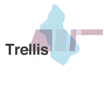 Graphic images making up the Trellis logo, including shapes of the olympic park and the UCL East Buildings