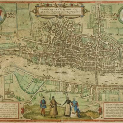 Plan of London  from Civitates Orbis Terrarum, vol 1, plate 1, 1572