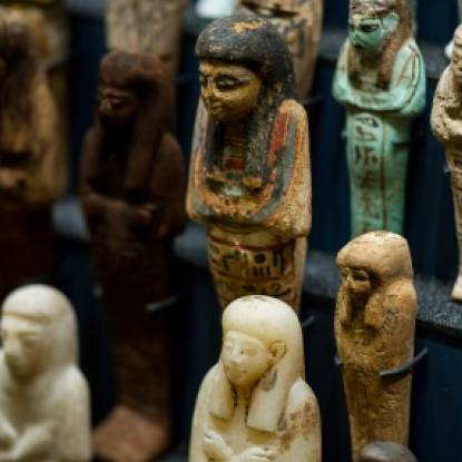 Colour photo of human shaped shabti figures