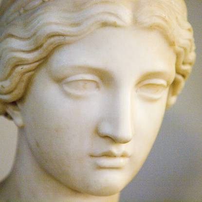 Colour photo showing the face of a classical plaster statue