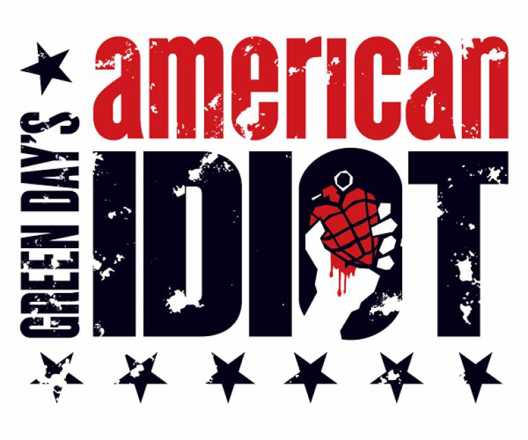 American Idiot logo. The words American Idiot in black and red text on a white background.