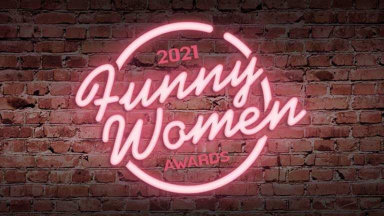 Funny Women Awards logo in neon pink lights