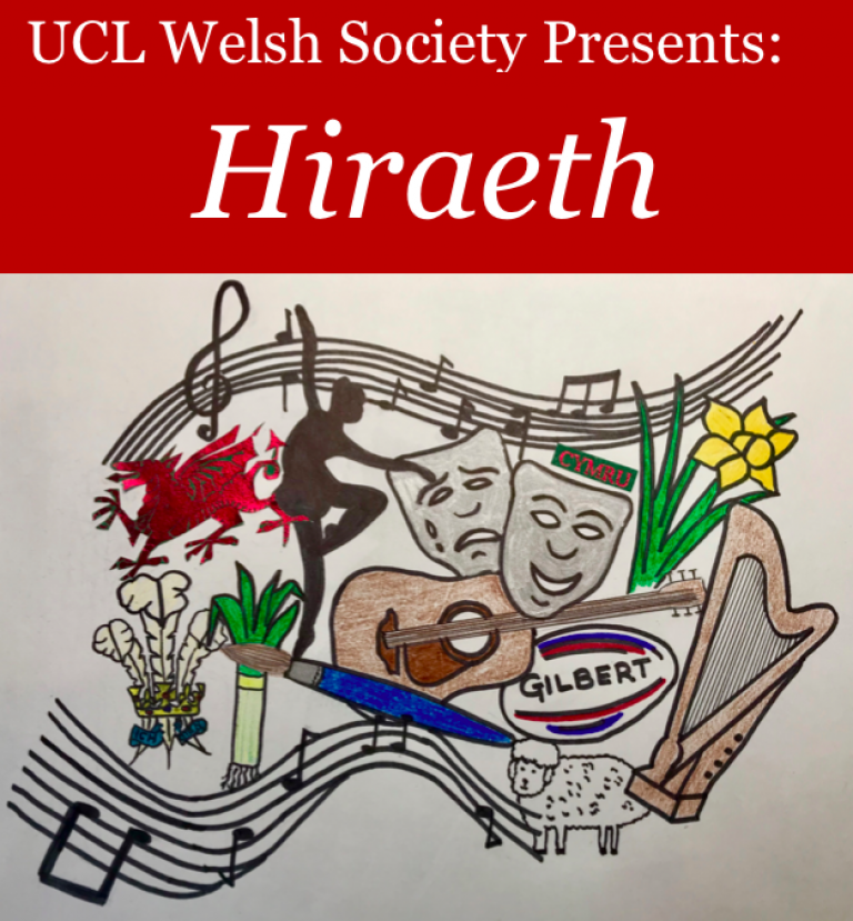 Welsh cultural images on a white background with the text Hiraeth