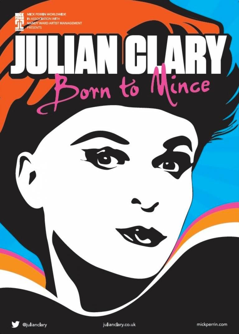 A cartoon drawing of Julian Clary against a blue background, with the words Julian Clary - Born to Mince at the top of the image