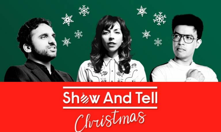 three comedians in christmas jumpers in front of a green background