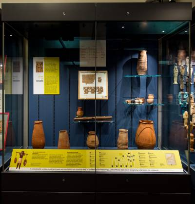 IMage of new cases at The Petrie Musuem showing Egyptian papyri and pottery.