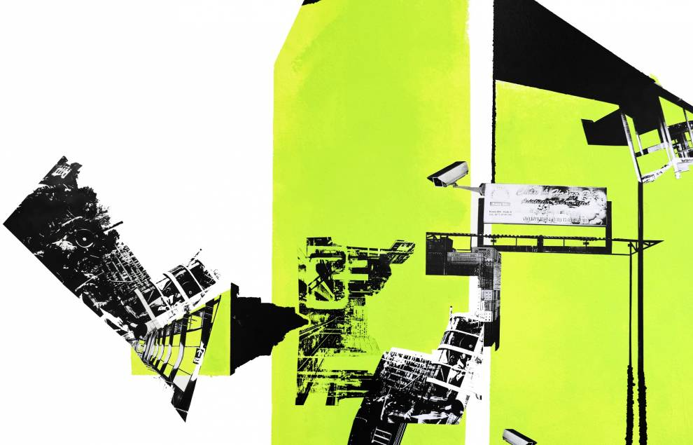 A collage of urban imagery including buildings, billboards and CCTV cameras set against a white and bright green background