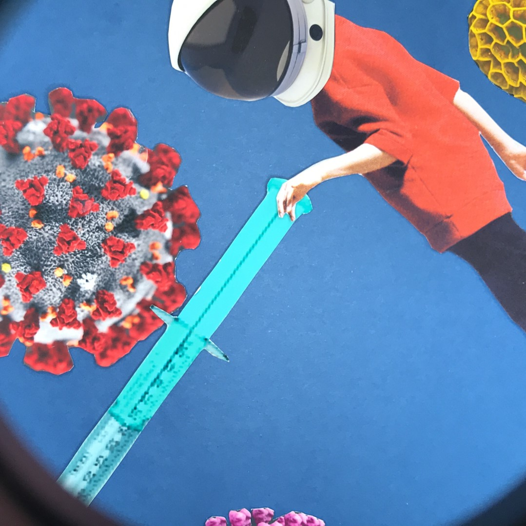A composite image through a microscope: a virus, a needle and a person wearing an astronaut helmet