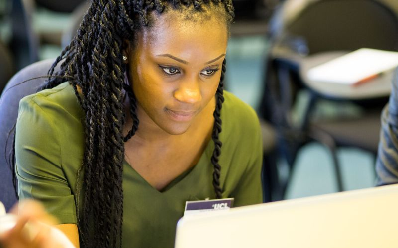 Woman using a PC