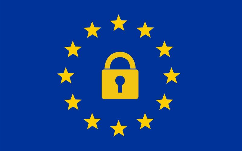 European Union flag and General Data Protection symbol