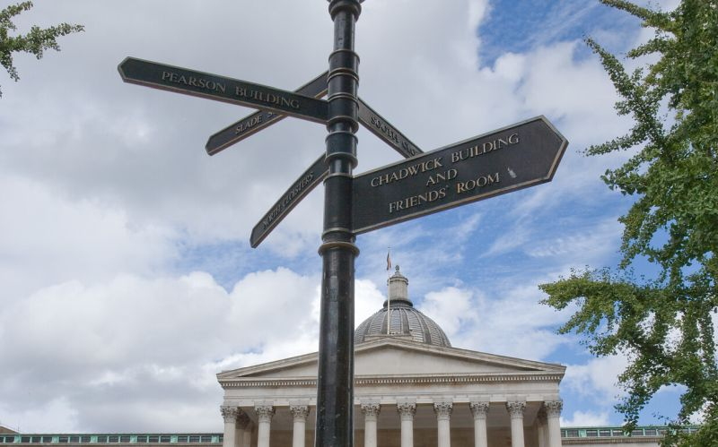 Sign post in front of the UCL Wilkins Building