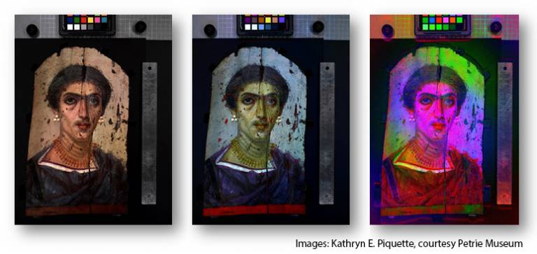 Spectral RTI mummy portraits, credit Kathryn Piquette, courtesy of UCL Petrie Museum