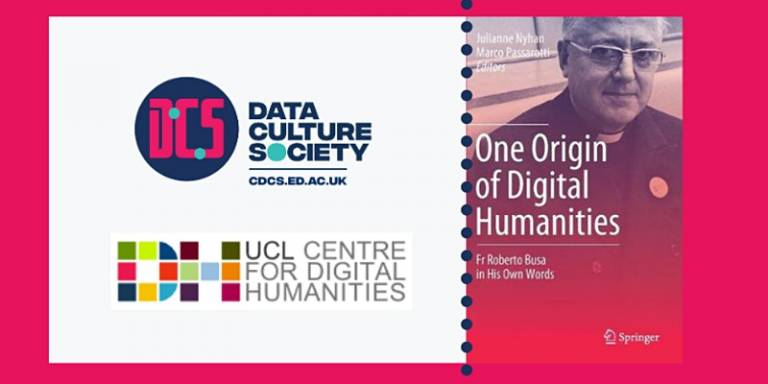 ucldh and cdcs logos, plus book cover 'One Origin of Digital Humanities: Fr Roberto Busa S.J. in His Own Words'