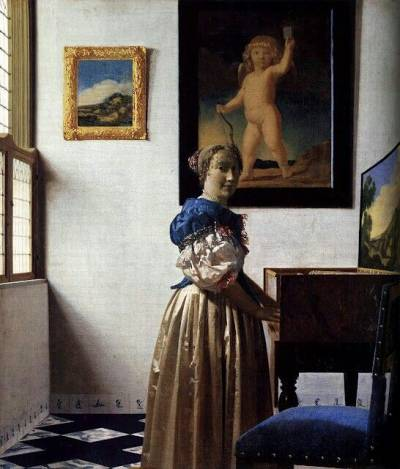 Vermeer, A Young Woman Standing at a Virginal (c.1670-72), courtesy of the National Gallery