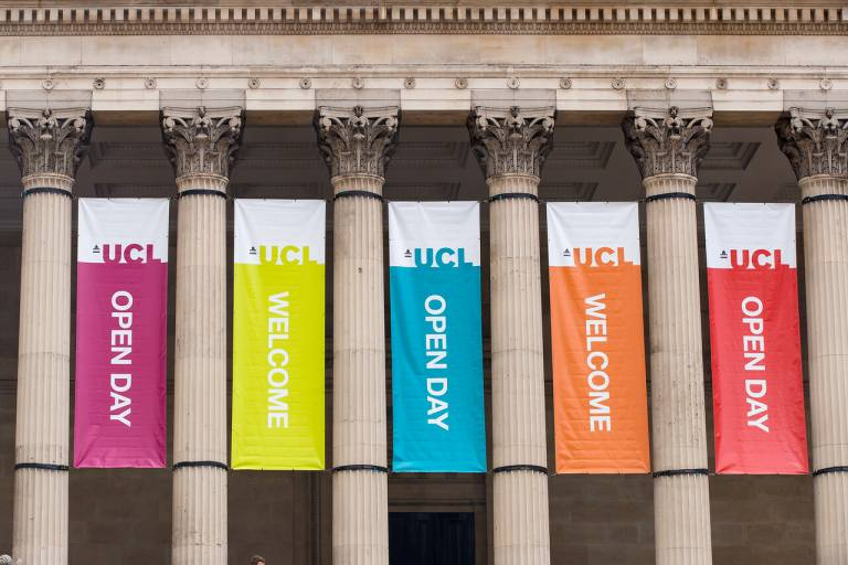 UCL Open Day portico banners