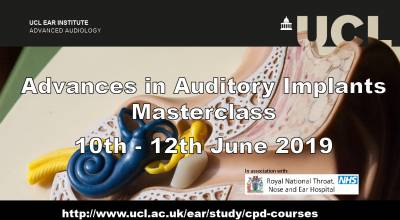 Auditory Implants Masterclass 10th - 12th June 2019