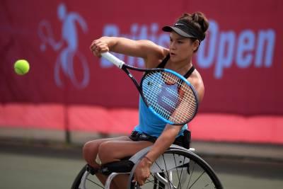 Dana Mathewson playing professional wheelchair tennis