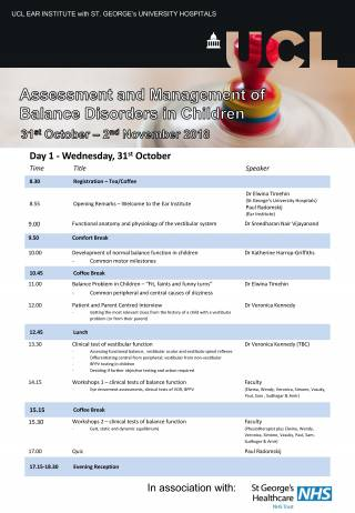 Assessment and management of balance in children timetable