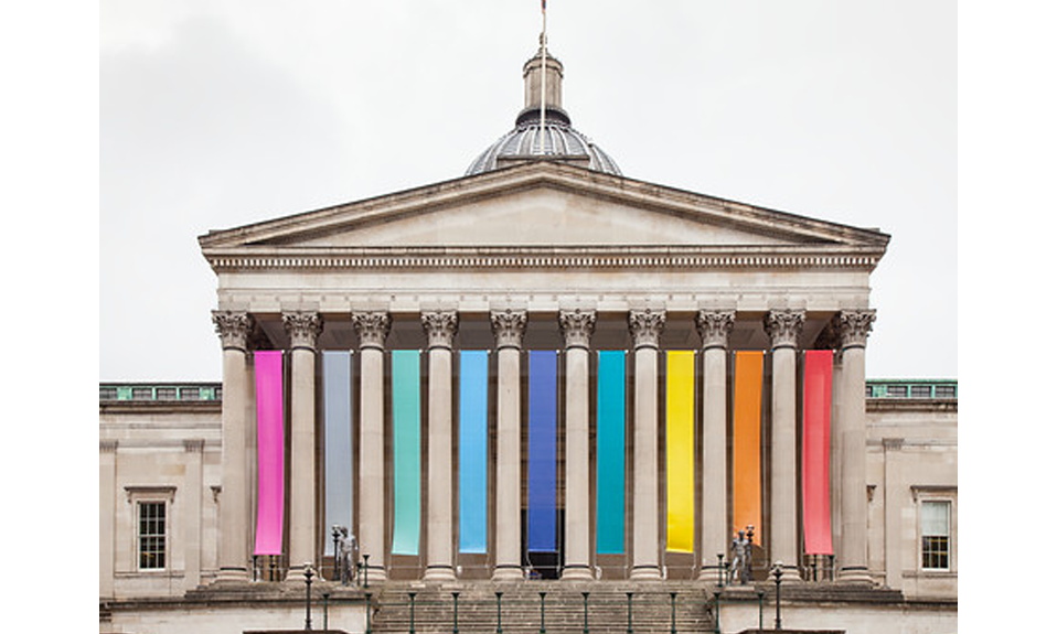 UCL Wilikins building with rainbow banners